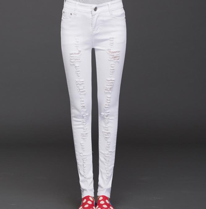 54b080eb8f4 Summer Women Cropped Jeans Pants Ladies Ripped Jeans - Buy Ladies ...