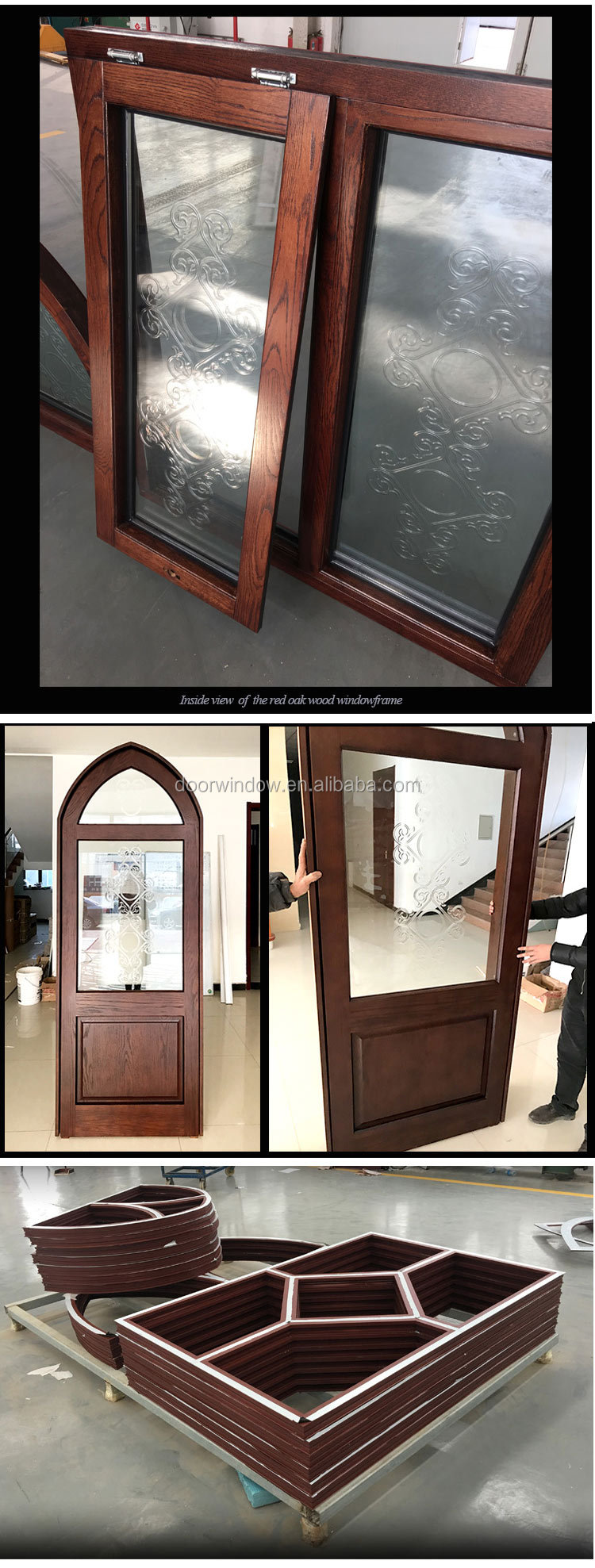 Wood arched window frame round wooden windows