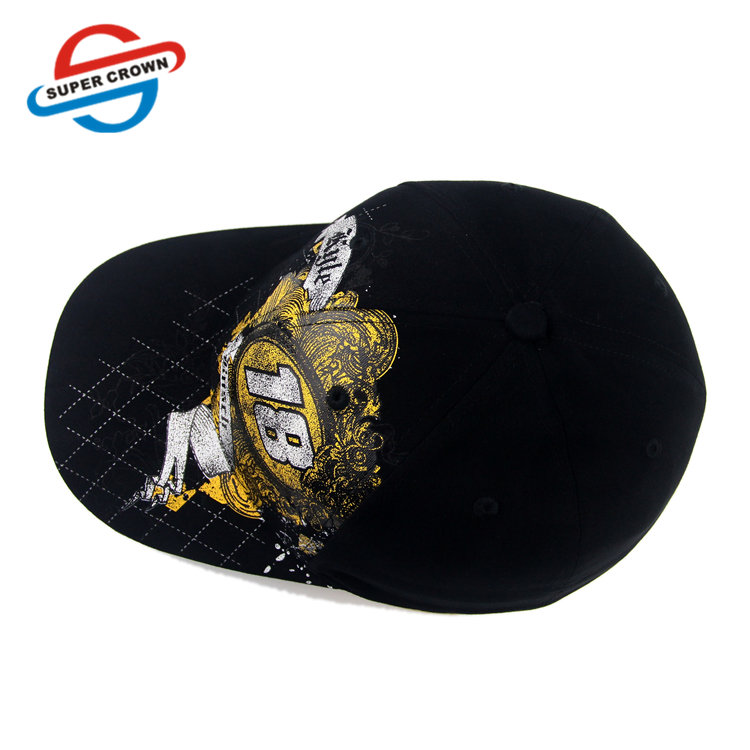 Embroidery logo 6 panel flex fit black cotton baseball cap / custom design your own summer outdoor travel golf dad hat