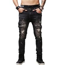 High Quality Mens Ripped Biker Jeans 100% Cotton Black Slim Fit Motorcycle Jeans Men Vintage Distressed Denim Jeans Pants Q1566