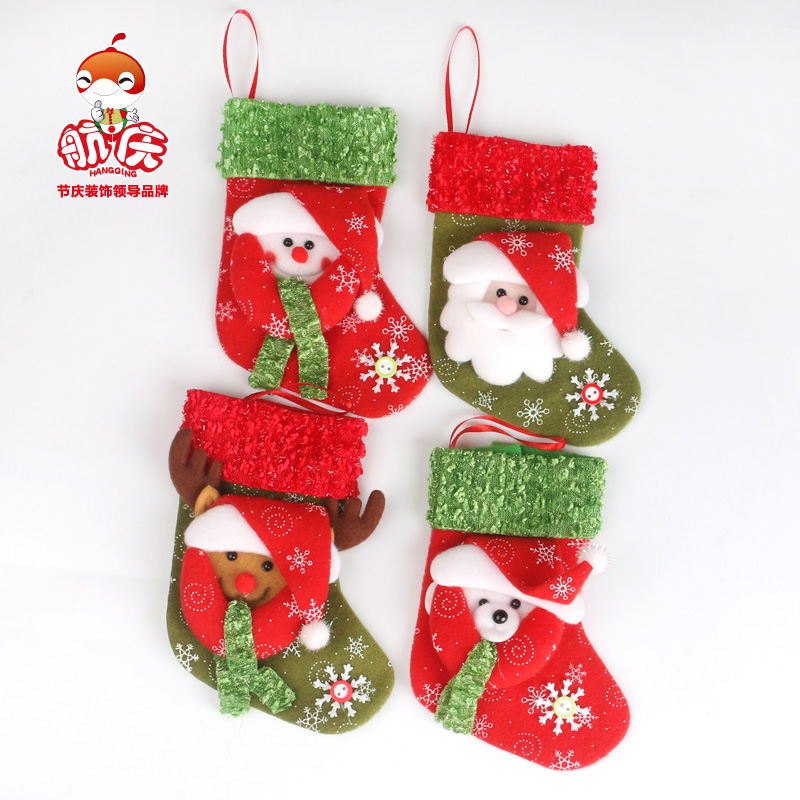 Free shipping Christmas decoration supplies gift socks small gift bags applique christmas socks