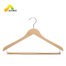 Wooden Contour Suit Hanger Natural Color with Locking Bar