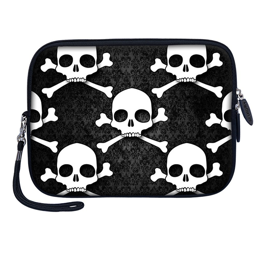 "Meffort Inc 7 inch Tablet Carrying Case Sleeve Bag w Removable Handle for most 6"" 7"" 8"" Tablet eBook - Hazard Skull"