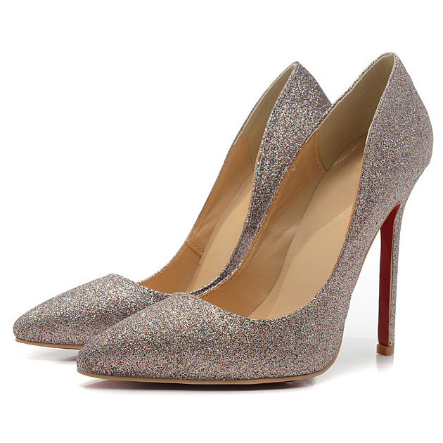 Silver Red Bottom Shoes