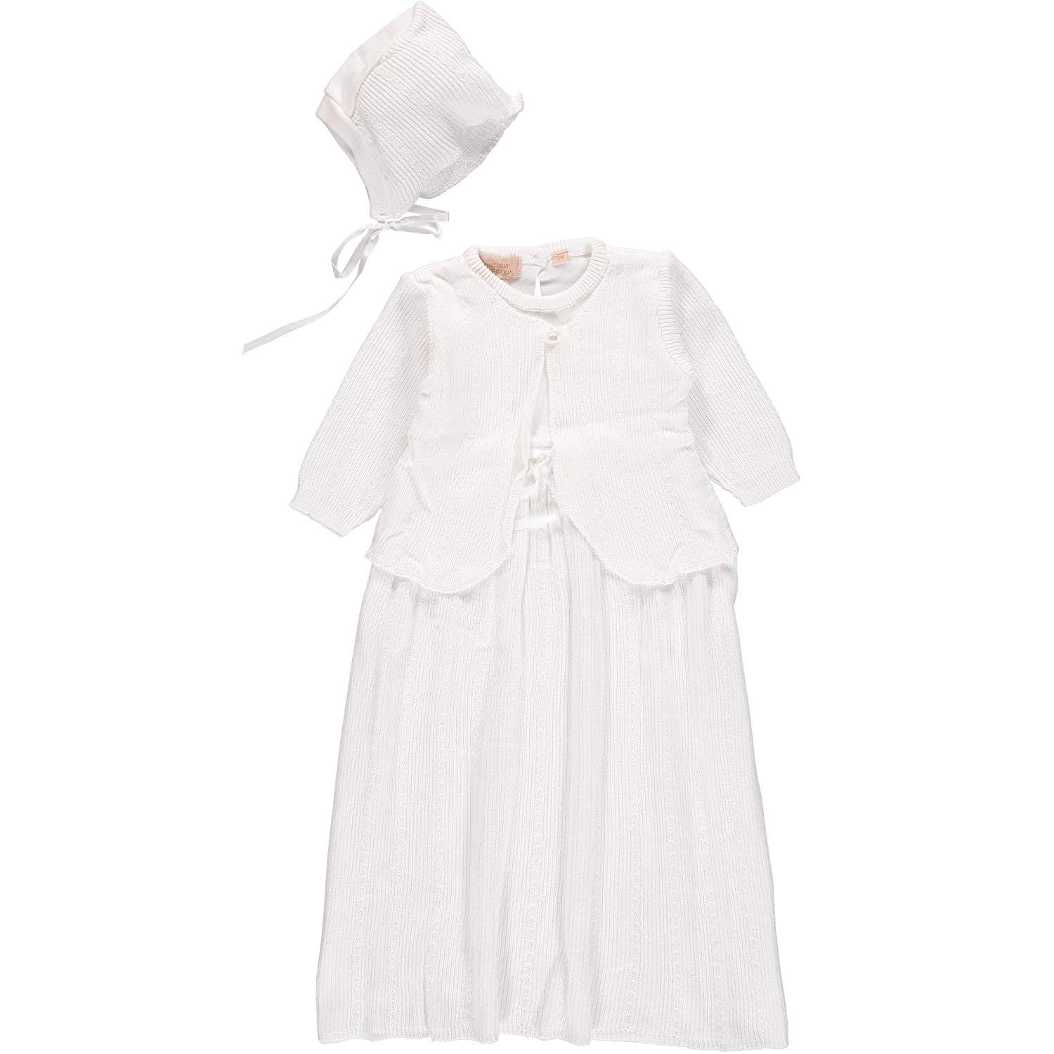 Little Things Mean A Lot Baby Girls White Silk Lattice Bodice Short Sleeve Hat Christening Gown 0-12M