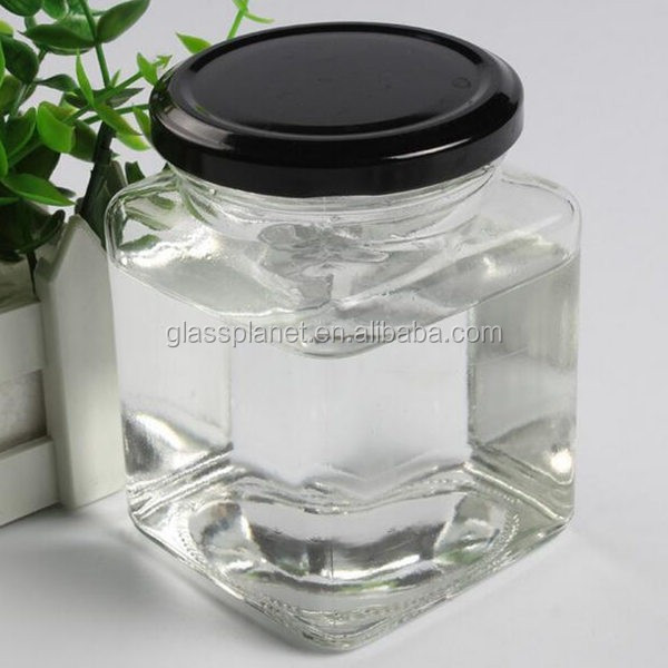 380ml Square Glass Jar with Metal Lug Cap