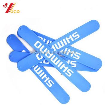 Custom Cheap Printed Rubber Silicone Ruler Slap Bracelet Ruler Slap