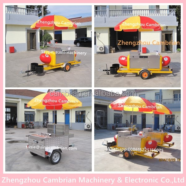 Big space hot dog cart for sale with colorful lamp