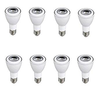 Euri Lighting flood PAR20 LED bulb, 7W (50 Watt Equivalent), 5000K (Cool White Glow), 40° Beam Angle, Medium Base (E26), 500 Lumens, Dimmable, UL-Listed, MCOB LED Technology - EP20-2050EW (Pack of 8)