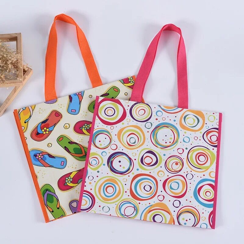 customized promotional printed fashional  reusable laminated lady  pp woven supermarket bag