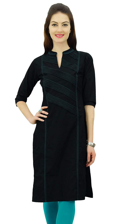 ff849dac6608 Get Quotations · Phagun Women Cotton Straight Pintex Kurta Kurti Casual  Summer Indian Ethnic Tunic Top