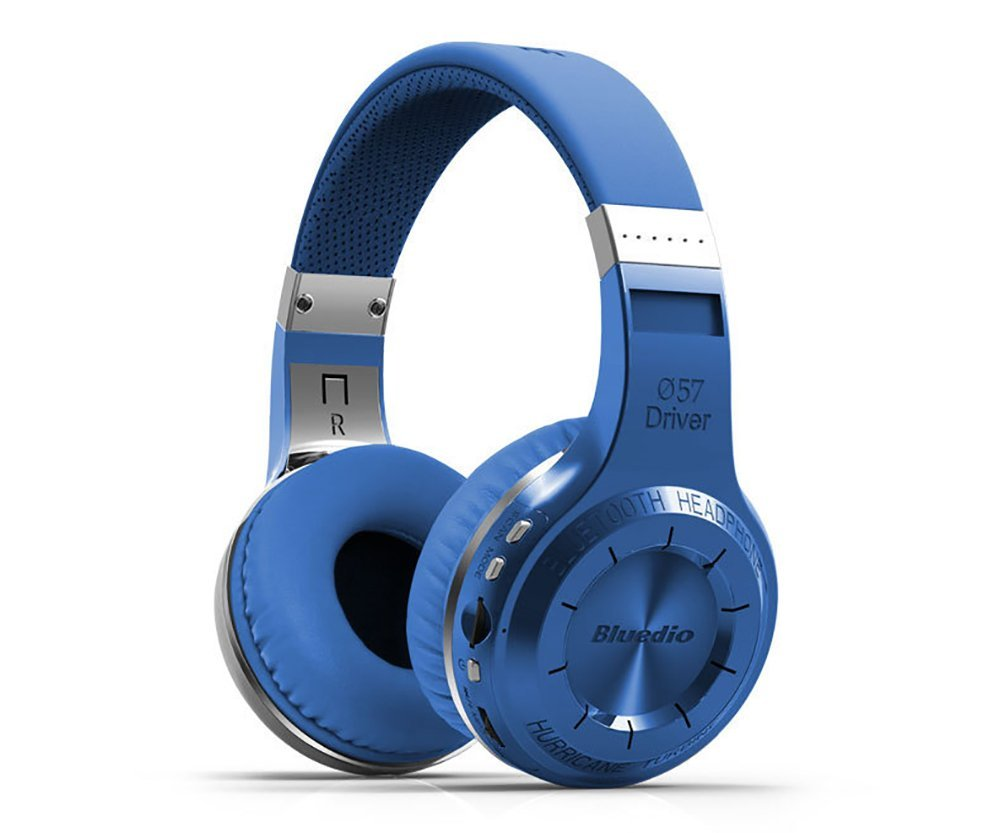 QANGEL Bluedio H+ Turbine Over-ear Wireless Headphones Bluetooth 4.1 Noise-cancelling Bluetooth Stereo Headset Over ear Earphones with FM On-ear Handsfree Heaphones with Mic for iphone Computer,Blue