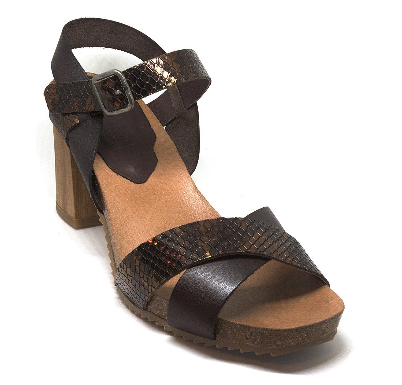 adb8e2ec994f0 Get Quotations · Pilar Monet Ladies' Fashion Sandals: Genuine Leather Brown  Heel Dressy Women's Sandals Handmade In