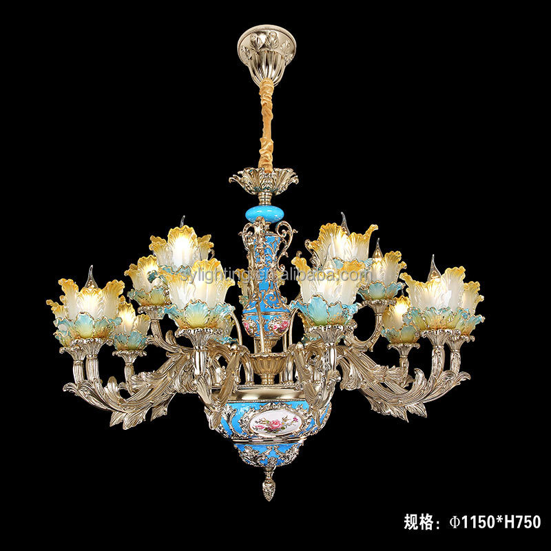 luxury antique zinc alloy murano glass flower Turkish chandeliers pendant lights with 6 lights with CE&UL