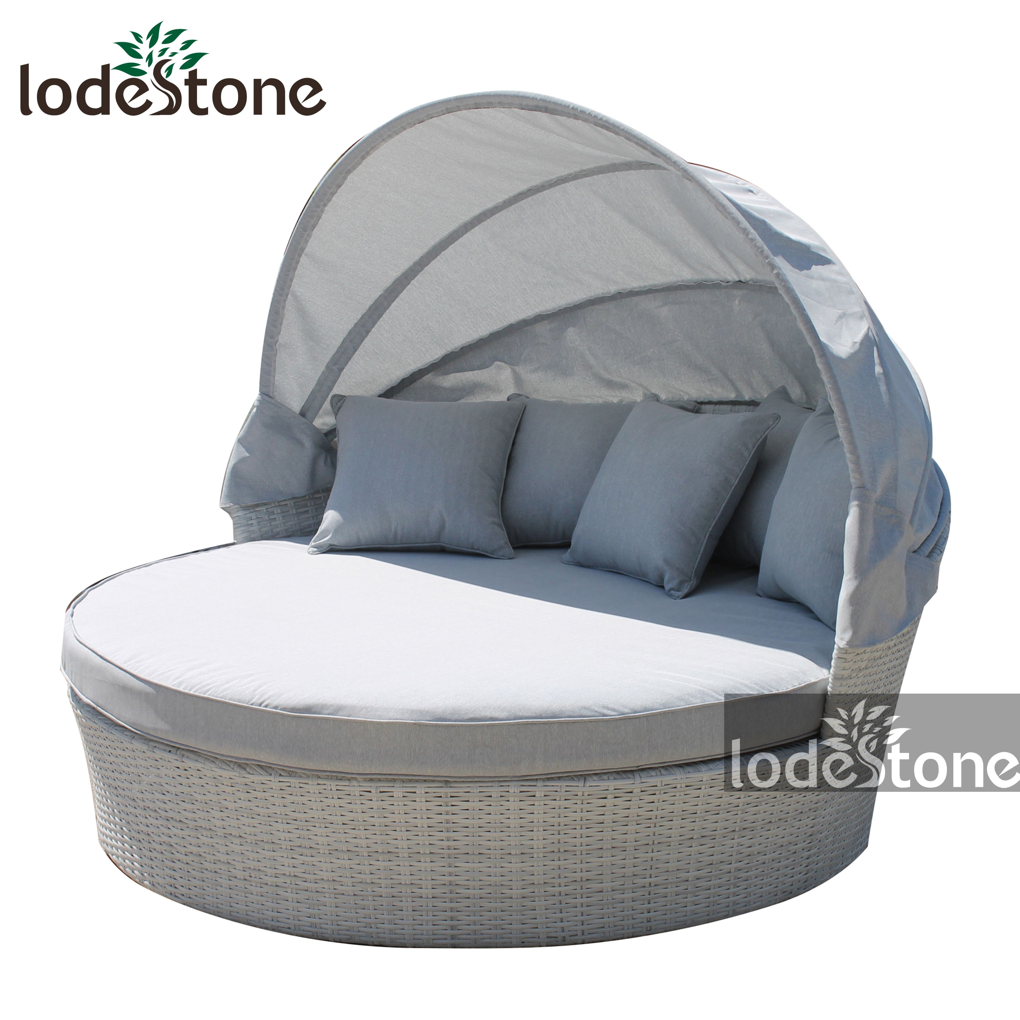 - Best Selling Daybed Outdoor Wicker Pool Round Sunbed With Canopy
