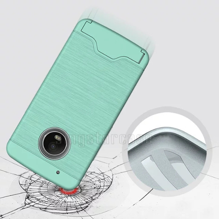 Wire Draw Hide Credit Card Holder Back Cover For Motorola Moto G5 ...