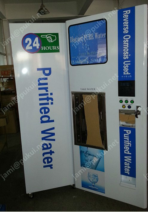 Purified pure water vending station machine with give changer