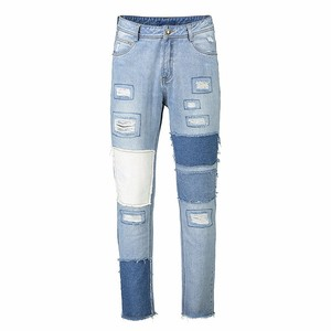 Man straight patch Damaged rip skinny men in tight jeans stretch europe pant denim jeans