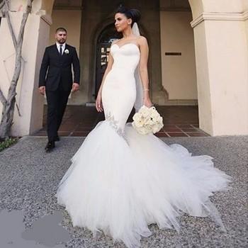 Ne086 Mode Sexy Sirène Robes De Mariée Nouvelle Arrivée Chérie Perles Tulle Tribunal Train Pas Cher Poisson Queue Robes De Mariée Buy Robe De