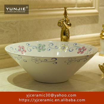 Jingdezhen Bowl Shaped Washbasin Flower Patterned Vessel Sink