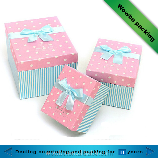 High quality wholesale christmas bow tie gift boxes with pink lid