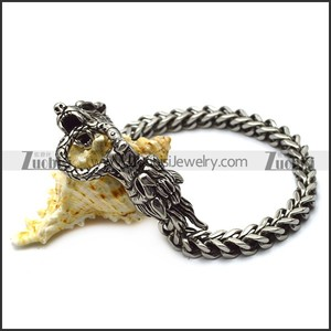 Stainless Steel Casting Square Chain Bracelet with 2 Dragon Heads