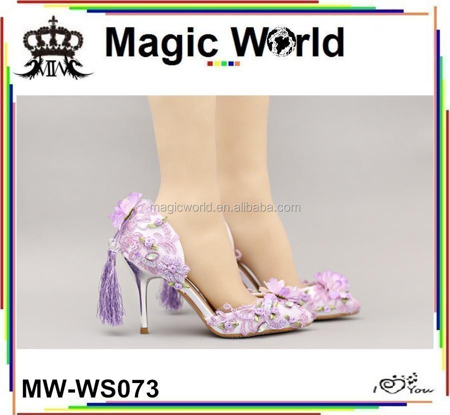 Shallow Flower Single Mouth Large Bridal Tassel Shoes Size Retro Wedding Purple O4wtxOnXpg