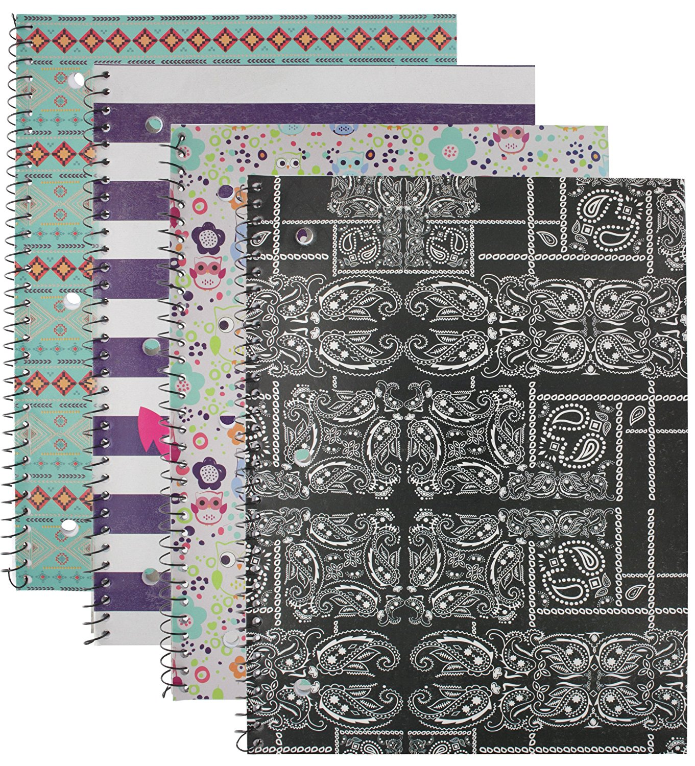 Emraw Trendsetters Notebook Spiral with 60 Sheets of Wide Ruled White Paper - Set Includes: Anchor, Owl, Bandana & Tribal Covers (Random 3 Pack)