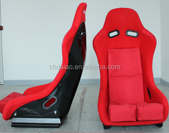 Bride Style Full Bucket Fixed Back Racing Seat Red Center Logo - LARGE