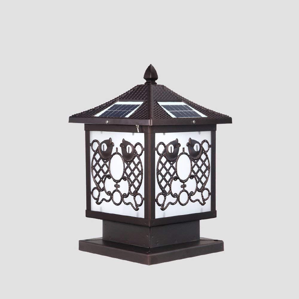 Hines Antique Garden Light Solar Energy Door Light Outdoor Table Lamp LED Acrylic Lantern Waterproof Column Light Iron Balcony Villa Garden Fence Door Light