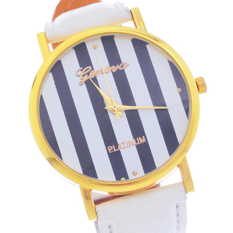 Wrist Watch White Watchband Women Watches Brand New Fashion Women's Casual Stripe Design watches