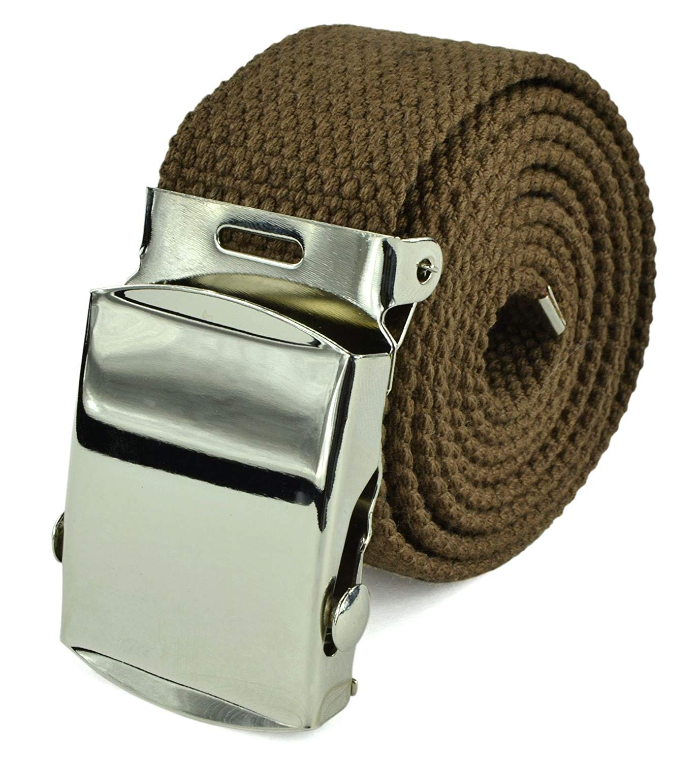Belle Donne- Unisex Men/Women Heavy Duty Canvas Military Style Belt-Brown