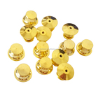 12 pcs Gold Brass Flat Head Pin Backs Bloqueio Pin Keepers Fecho De Metal Em Massa