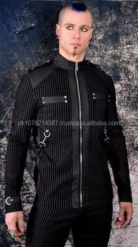 Neue Militärwesten Mantel Oi Buy Goth Bondage Industrial Gothic Herren Punk 2015 Weste Band Hemd Zip Baumwolle Jacke mNn80Ovw