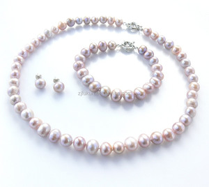 hot sale pink freshwater pearl jewelry set