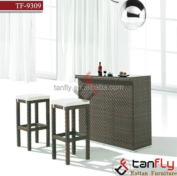 Outdoor Patio Wicker Furniture New Resin 2 Pc Bar Dining Server Table & Barstool Set