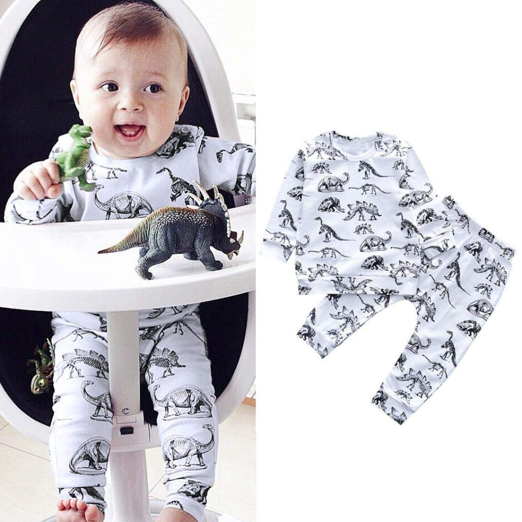 bf2f545803e Toddler Baby Boys Girls Dinosaur Print Top T-Shirt + Long Pants Clothes  Outfits Set