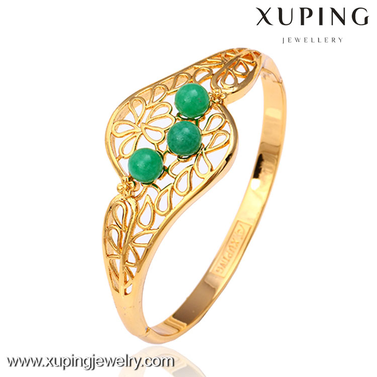 50664 modern design metal bangle with green stone set online