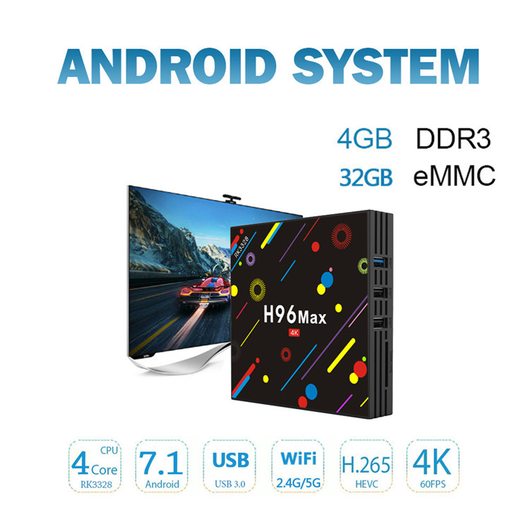 Smart Tv Box Rk3228 H96 Max H2 Firmware Update Amlogic Android 7 1 Tv Box  4g 32g Hd New Set Top Box Videos - Buy Android Box Internet Smart Tv Box