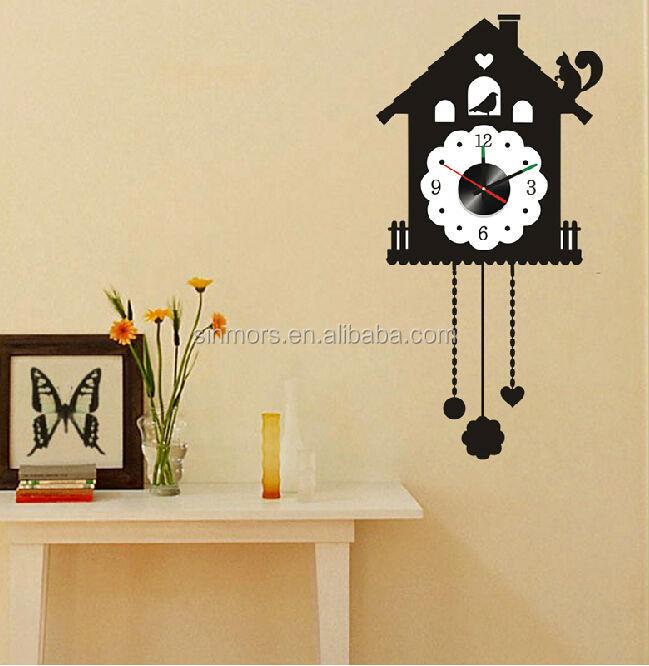 large bird cage decorative modern style wall clock sticker adhesive