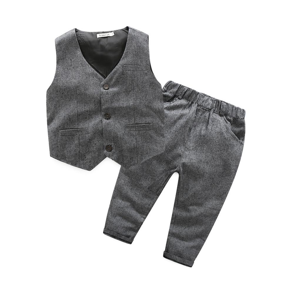 3 unids Caballero ropa de bebé niño primavera otoño arco corbata chaleco  largo chaleco camisa pantalones 72188f1cc4d7