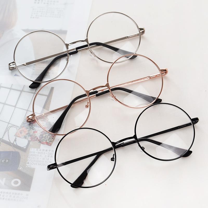 Metal gafas redondas marcos mujeres lente transparente gafas Retro ...