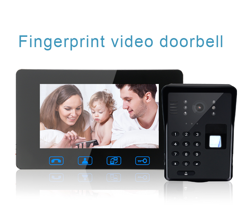 Saful 7''wired video phone support password&fingerprint unlock and infrared night vision(1V2)