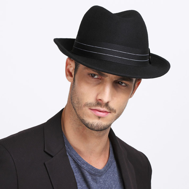 85287f00230 Get Quotations · 2015 High Quality Wide Brim Women and Men 100% Real Wool Felt  Fedora Hat Black