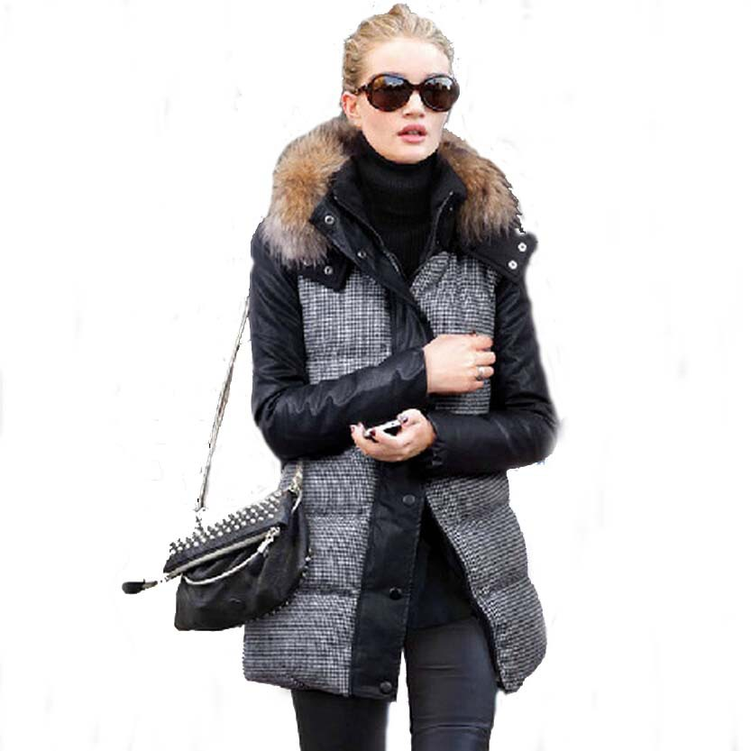 2015 New Winter jacket Woman's Outerwear Slim Hooded Down Jacket female fur collar Warm jacket Winter Women Coat 50828005B