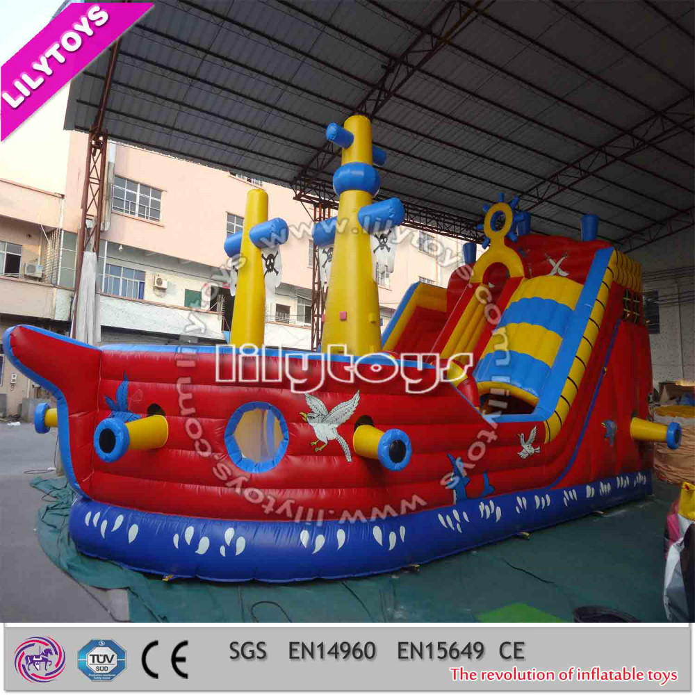 Giant pirate ship inflatale bouncer slide
