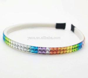 Rainbow color plastic crystal wholesale headbands