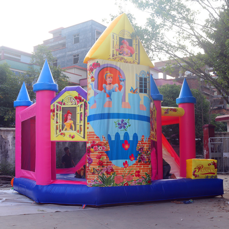 factory direct sell good price nice quality inflatable bouncer castle with slide, customized inflatable jumping bouncers for kid
