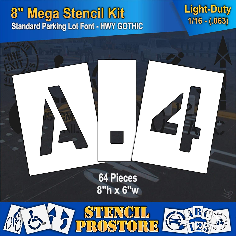 "Pavement Stencils - 8 inch MEGA ALPHA/NUM SET - (64 Piece) - 8"" x 6"" x 1/16"" (63 mil) - Light-Duty"