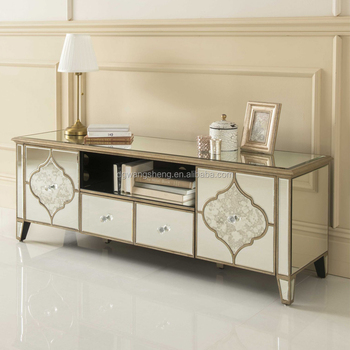 European Style Luxury High Quality Mirrored Tv Cabinet Unit